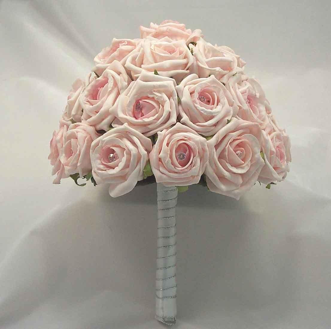 Pink Open Rose Diamante Table Posy