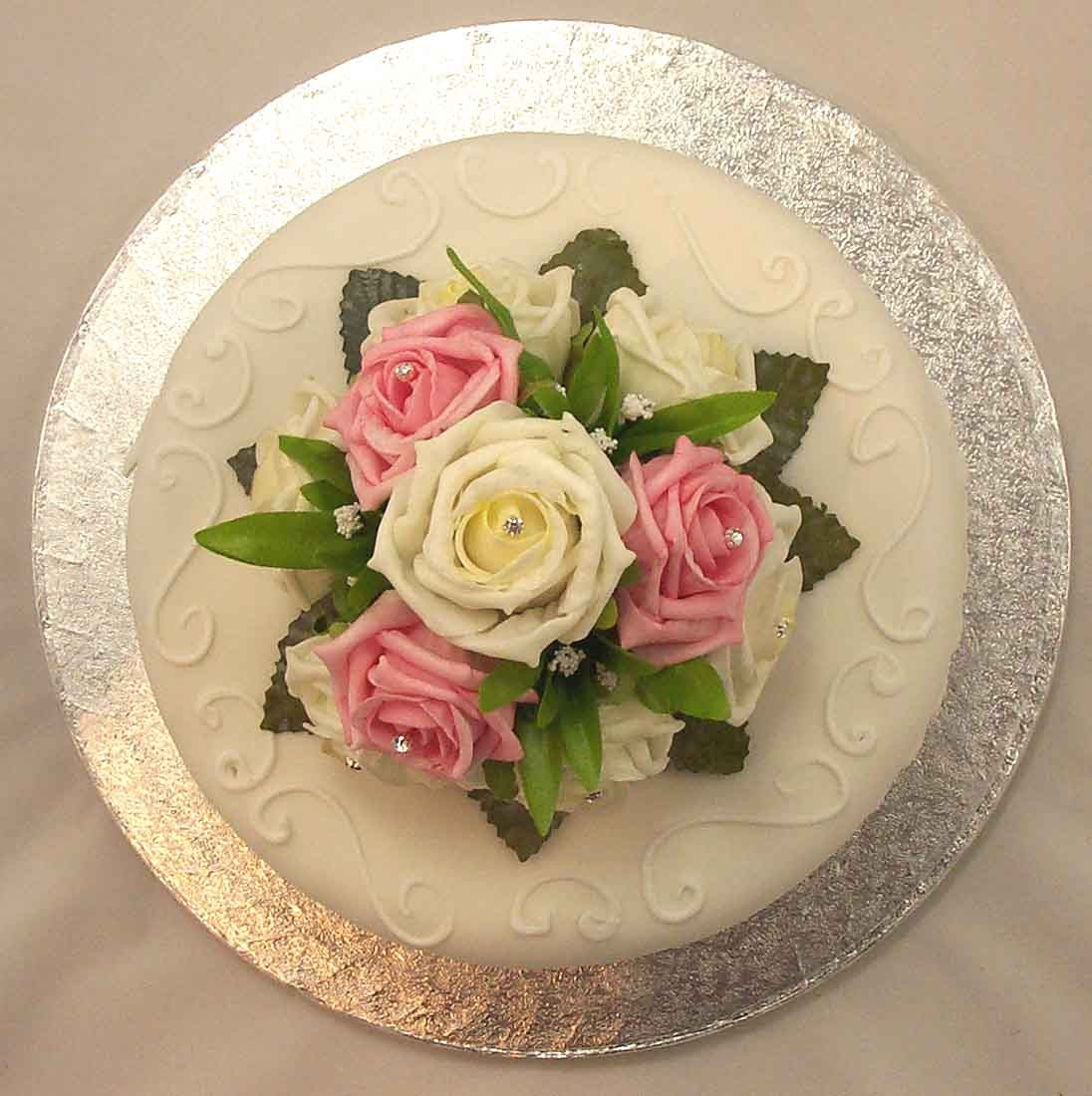 Pink & Ivory Rose Luxury Cake Topper