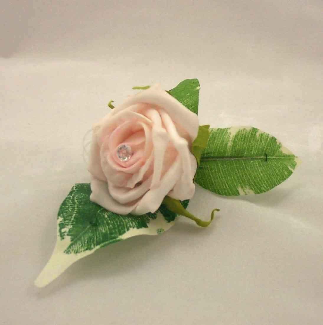 Light Pink Rose Diamante Buttonhole