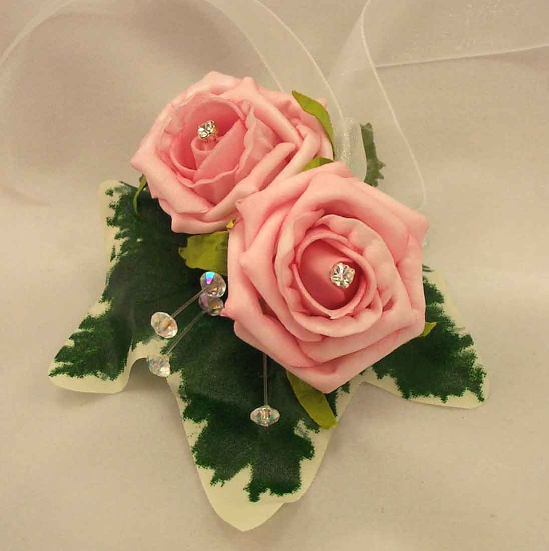 Pink Rose Diamante Wrist Corsage