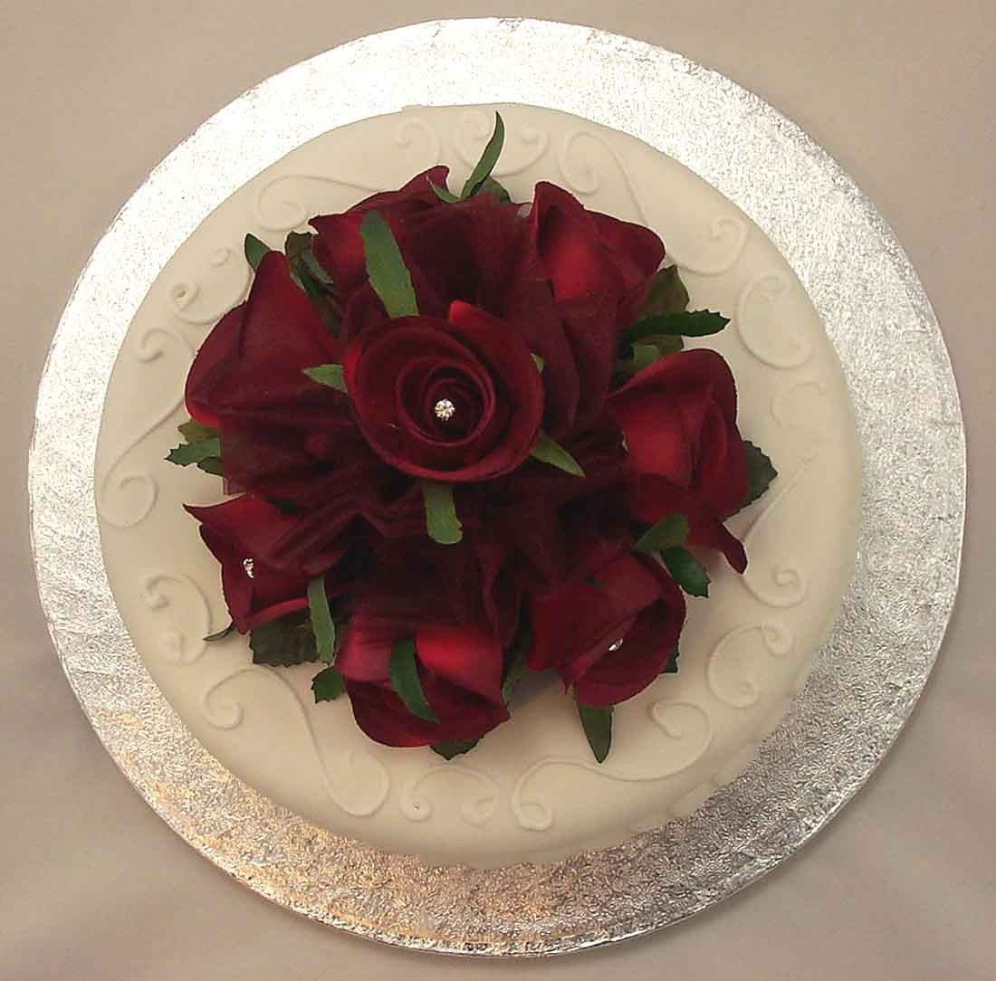 Burgundy Rose Diamante Cake Topper