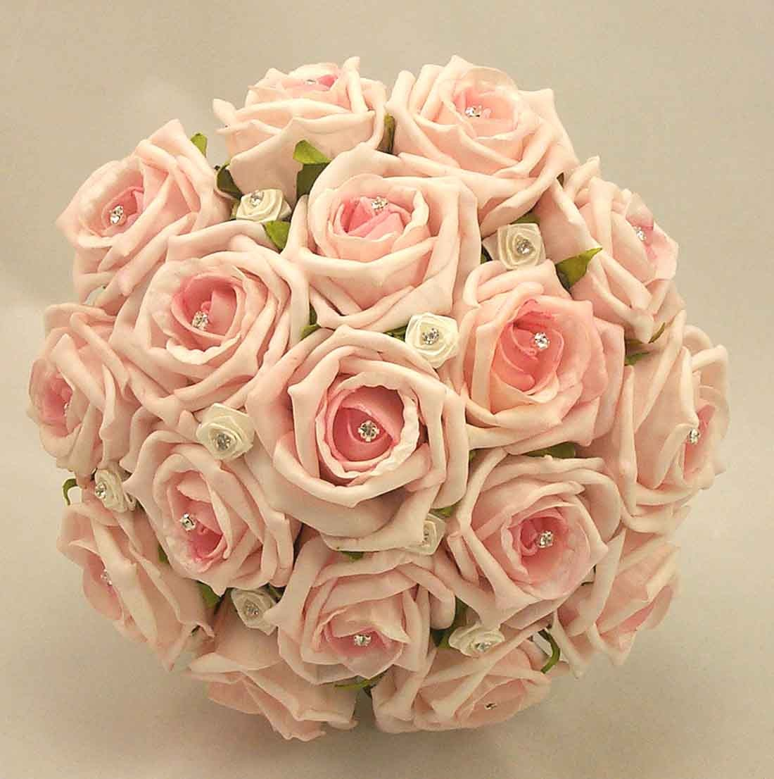Pink Wedding Flowers: Baby Pink Diamante Rose Bridal Bouquet