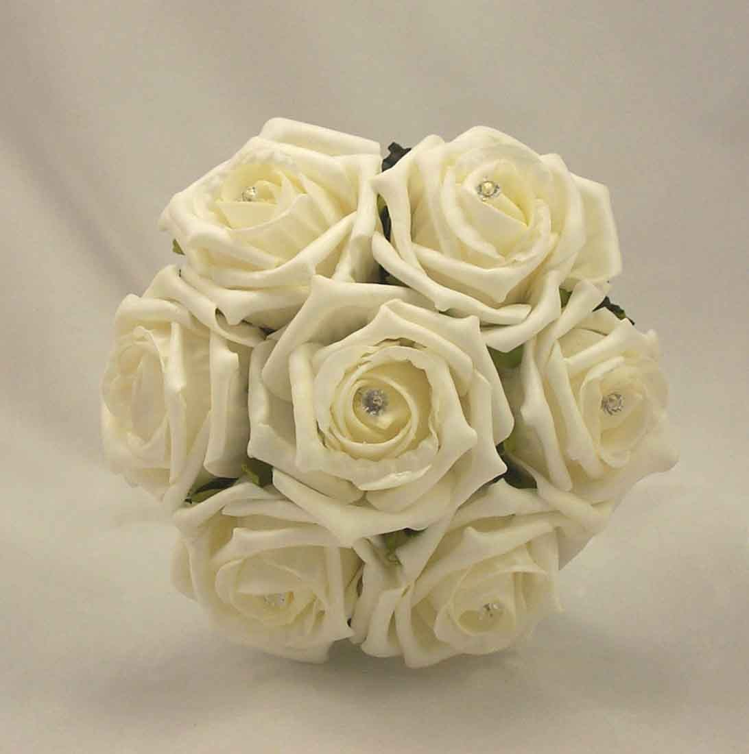 Cream Rose Diamante Children S Posy Bouquet