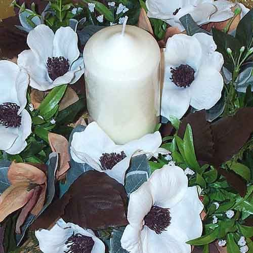 Ivory Rose & Brown Table Arrangement