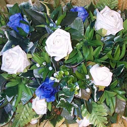 Ivory & Blue Rose Table Arrangement