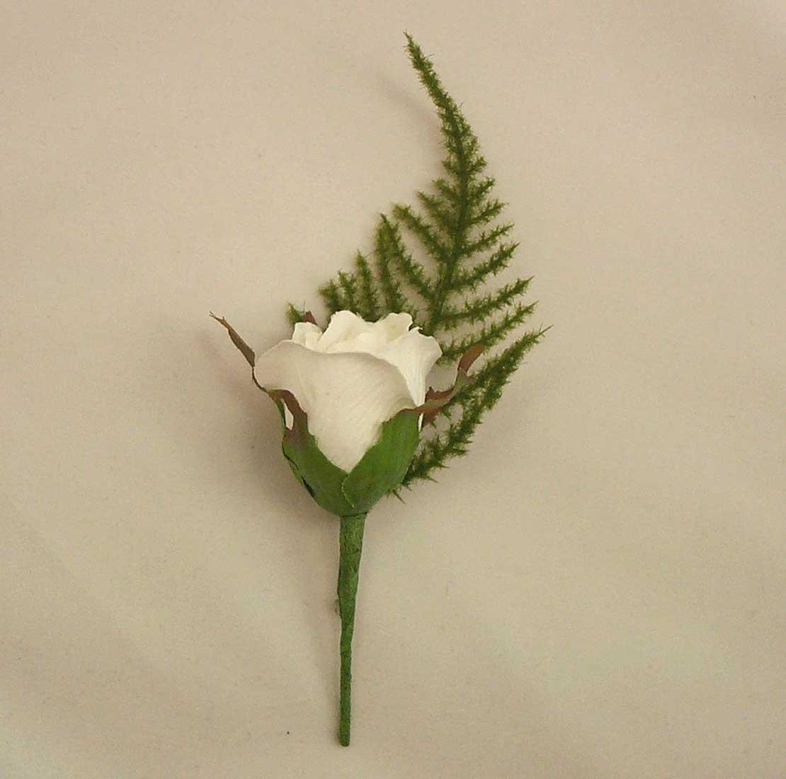 guest buttonholes white rose fern buttonhole silk