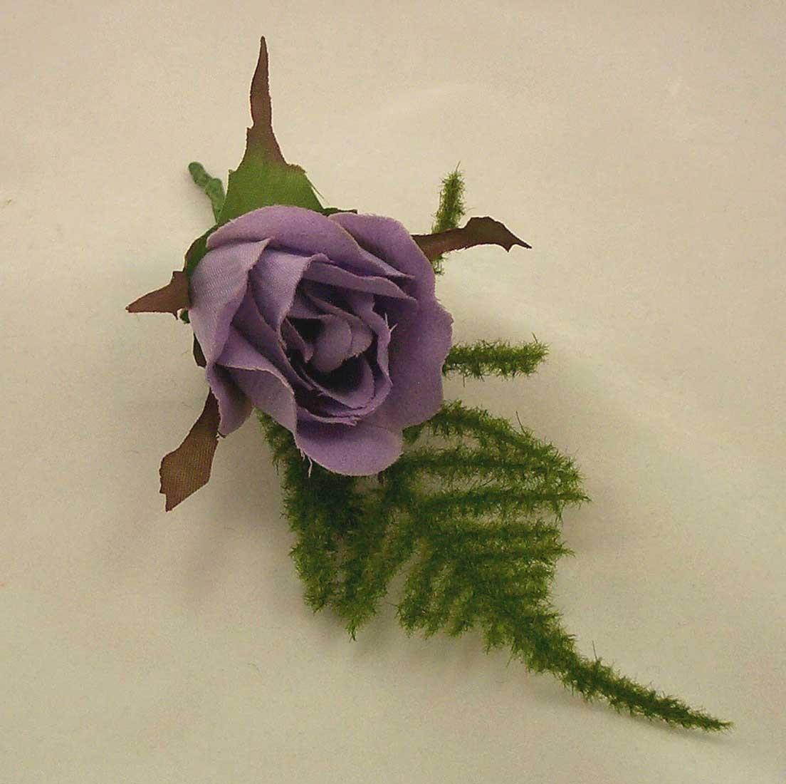 Lavender Rose Fern Buttonhole