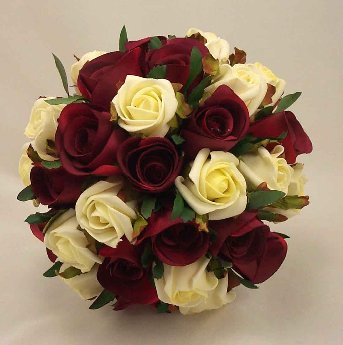 Bridal bouquets burgundy cream rose bridal bouquet silk wedding flowers - Flowers good luck bridal bouquet ...