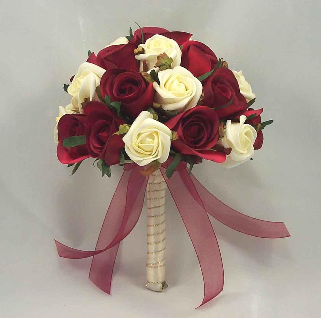 Burgundy & Ivory Rose Table Posy
