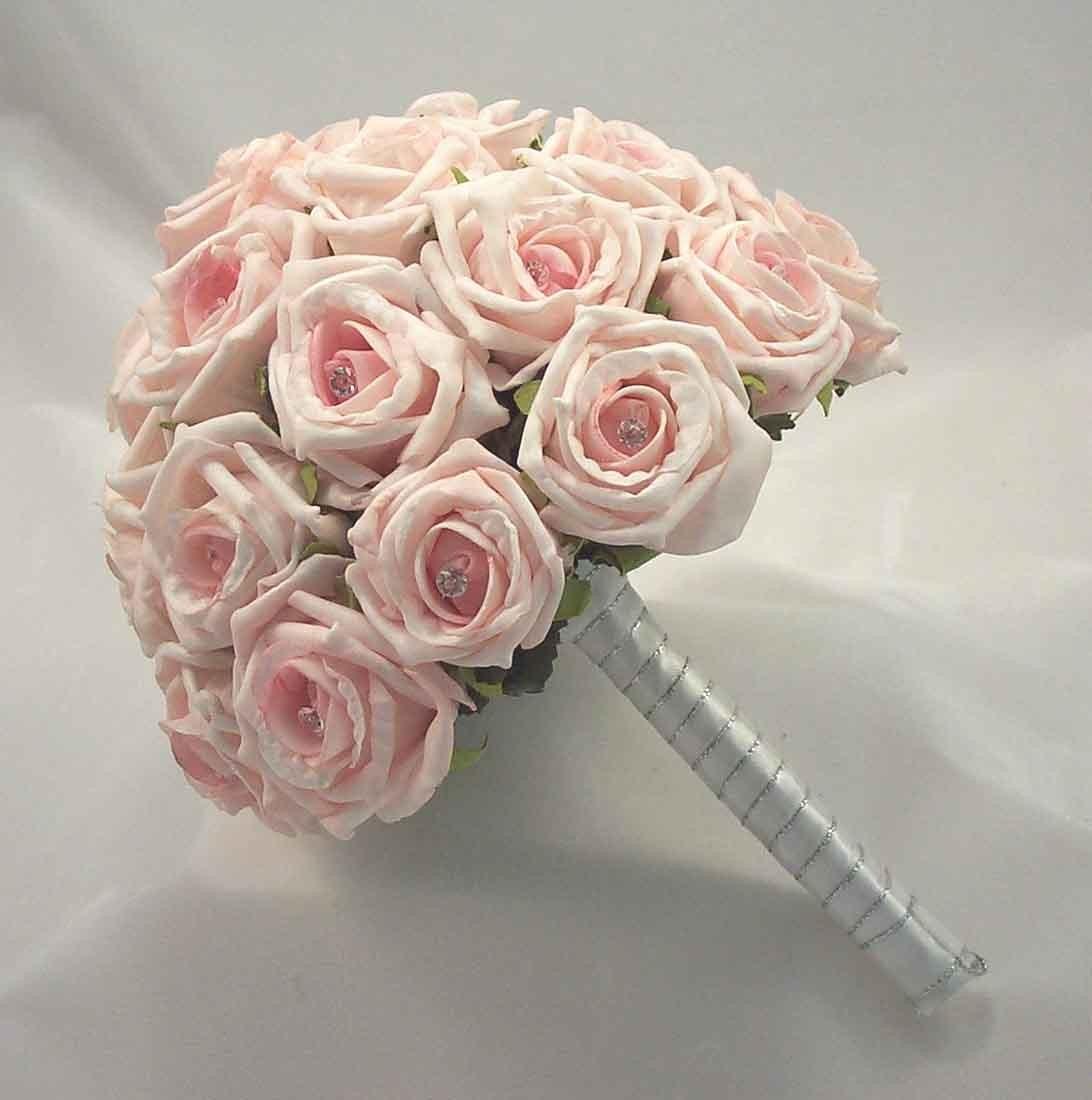 Bridal Bouquets Light Baby Pink Diamante Rose Bridal Posy