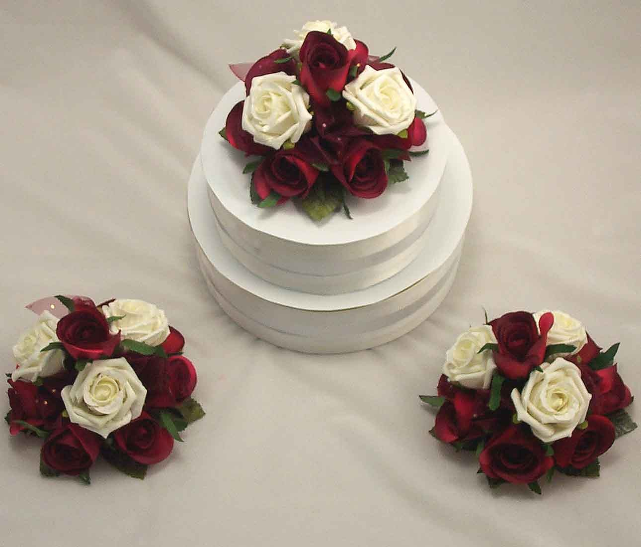 Cake Decorations Set Of 3 Burgundy Ivory Rose Cake Toppers