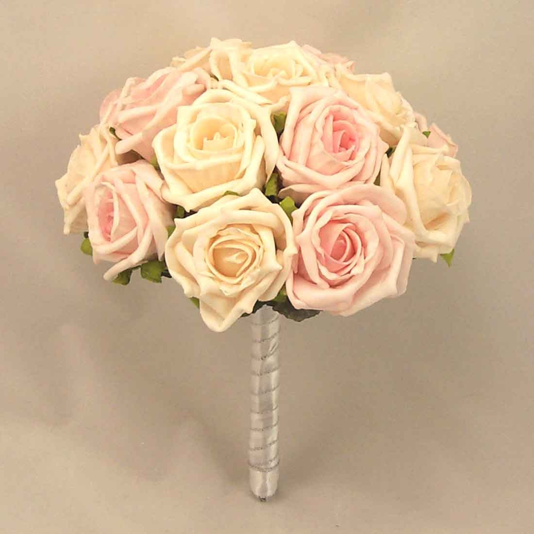 Table Posies Cream Light Pink Rose Table Posy Silk Wedding Flowers