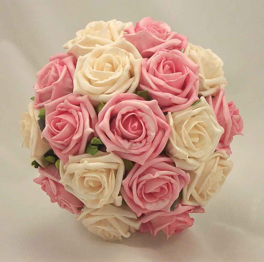 Pink Wedding Flowers: Pink & Cream Rose Bridal Bouquet