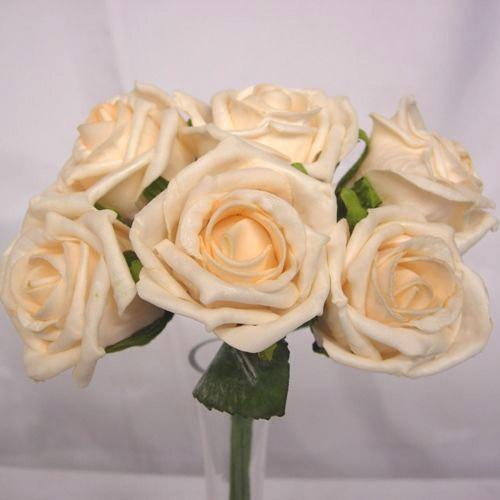 6 Luxury Cream Medium Roses
