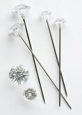50 Silver Diamante Pins 8mm