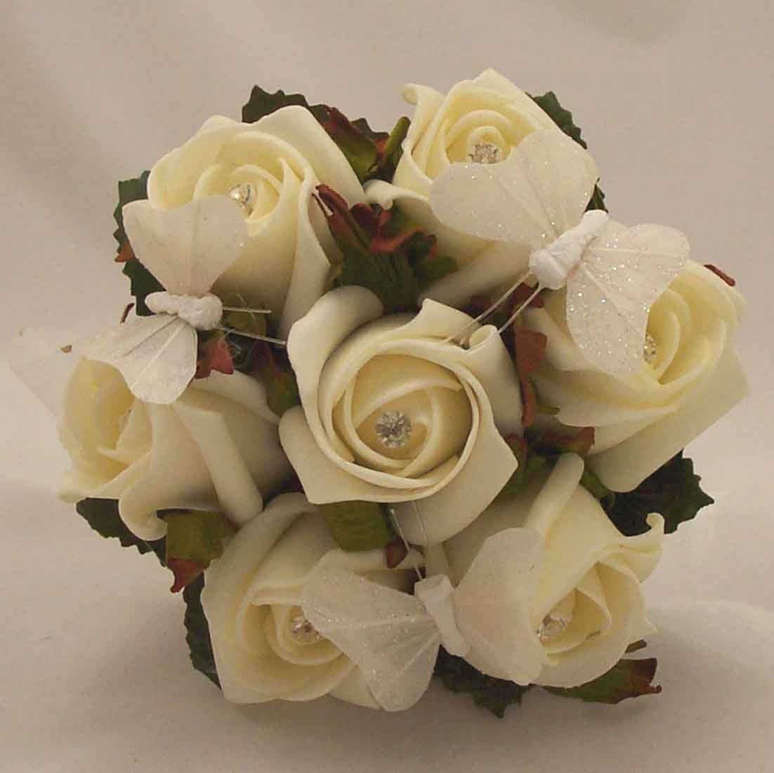 White Ivory Rose Butterfly Children's Posy