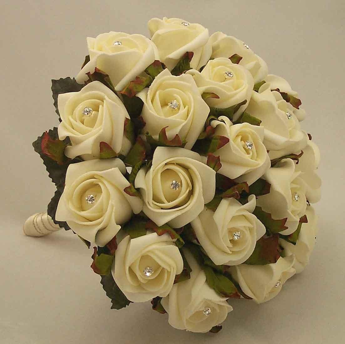 White Rose Diamante Bridesmaid's Bouquet