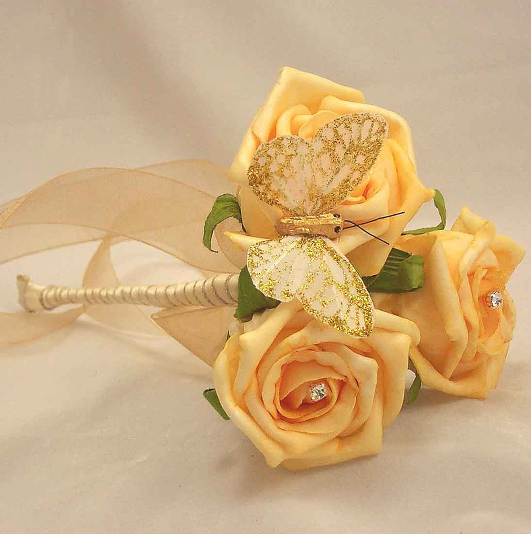 Gold Rose Diamante Butterfly Wand