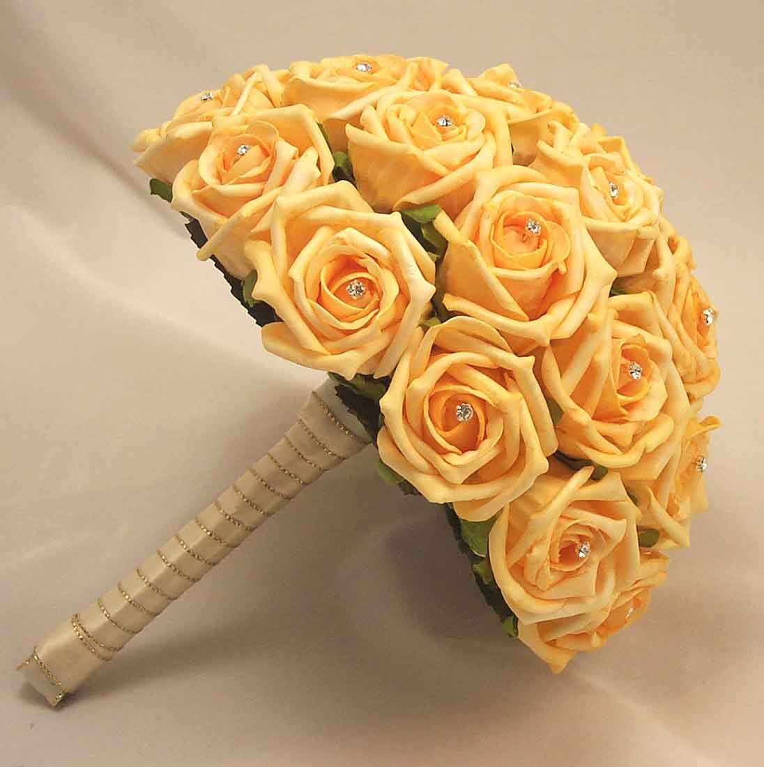 Gold Rose Diamante Bridal Bouquet