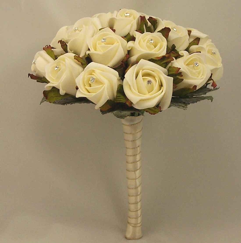 White Ivory Rose Diamante Table Posy