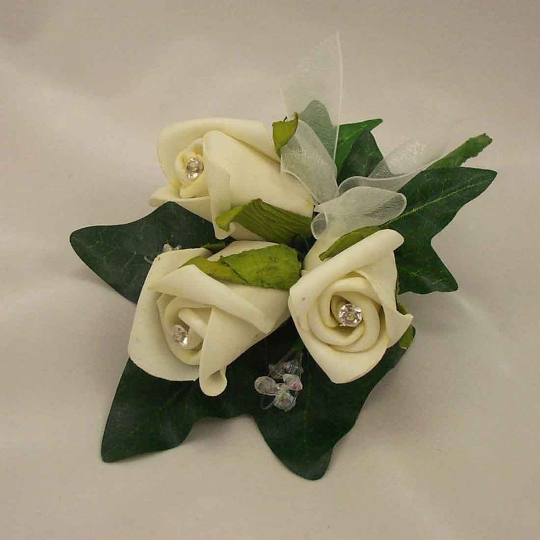 Ivory Rosebud Diamante Corsage