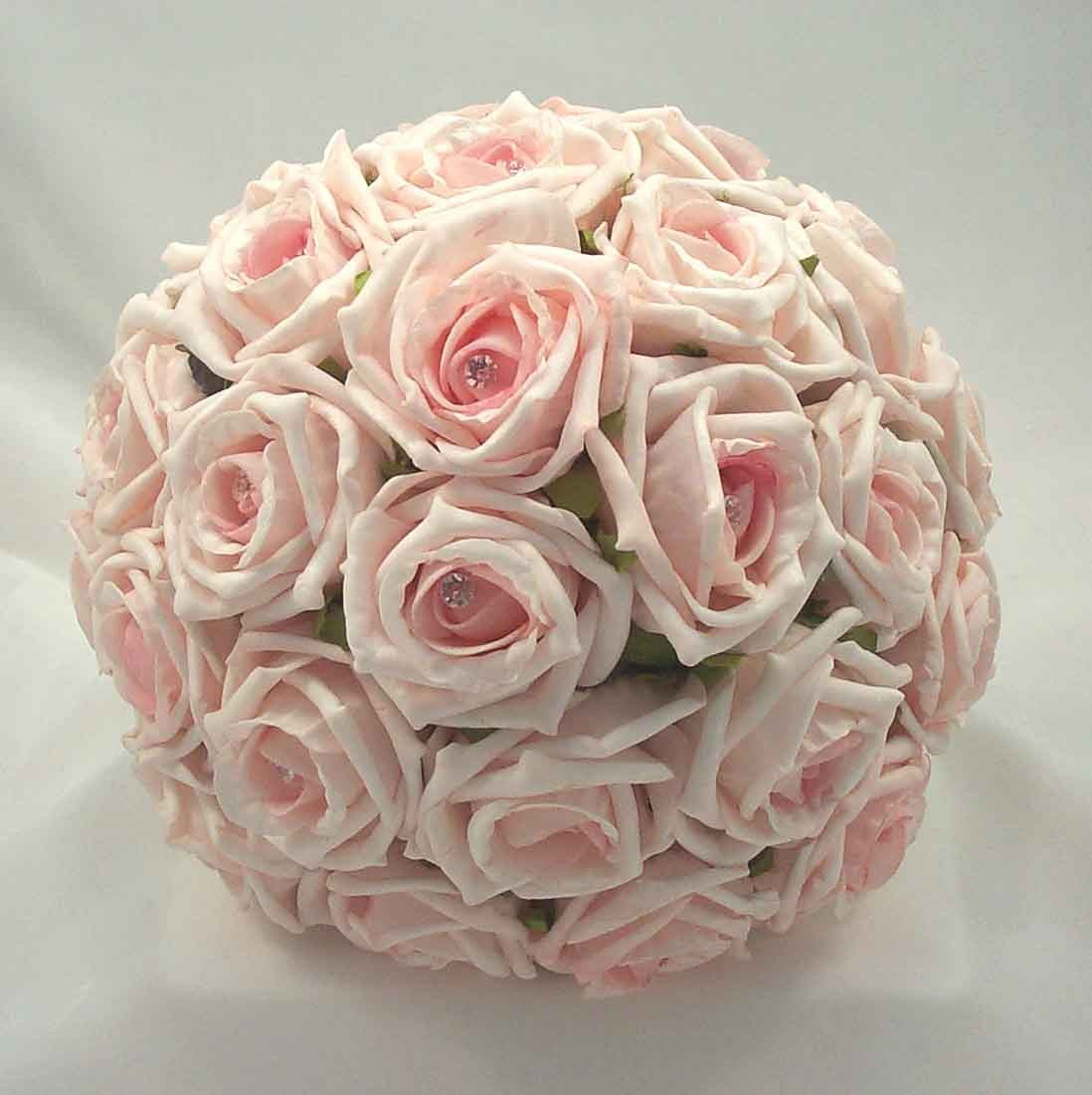 Baby Pink Diamante Rose Bridal Bouquet