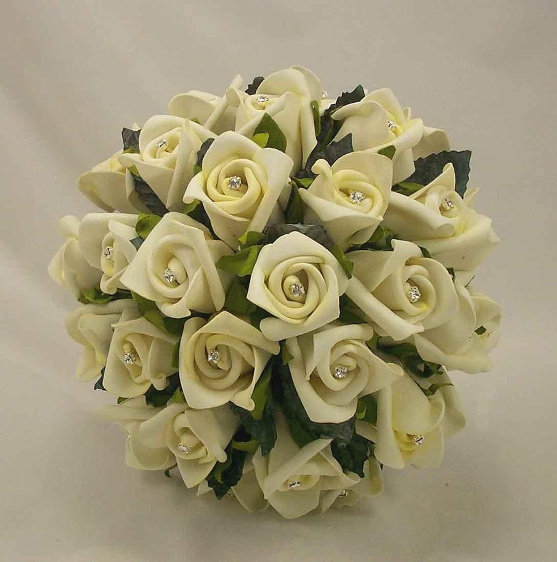 Ivory Rosebud Diamante Bridesmaid's Bouquet