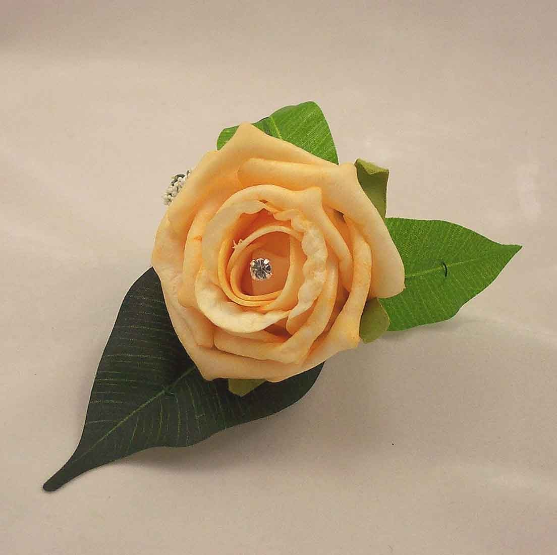 Gold Rose Diamante Buttonhole
