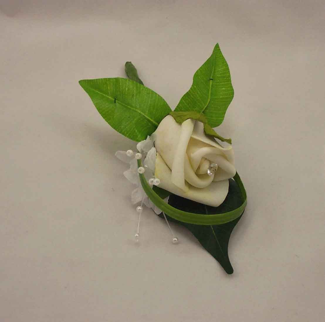 Ivory Rosebud Diamante Buttonhole