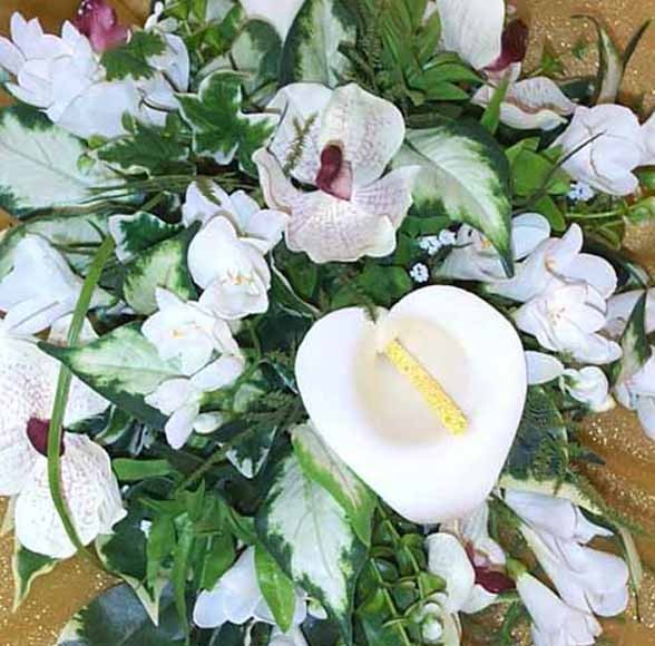 Cream Cala Lily & Pink Orchid Shower Bouquet