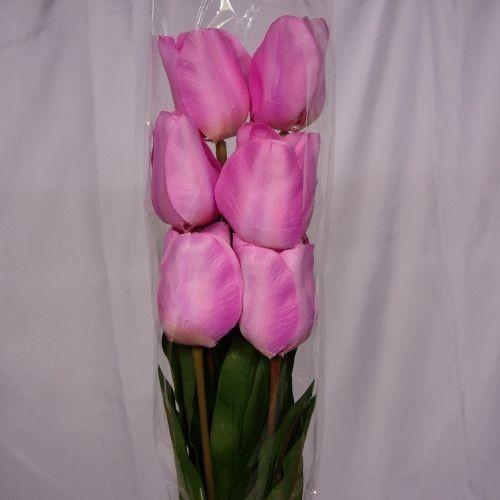 6 Silk Pink Tulips