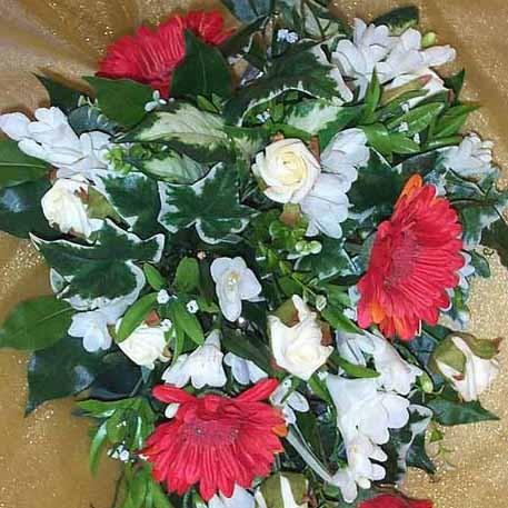 Red Gerbera & Cream Shower Bouquet