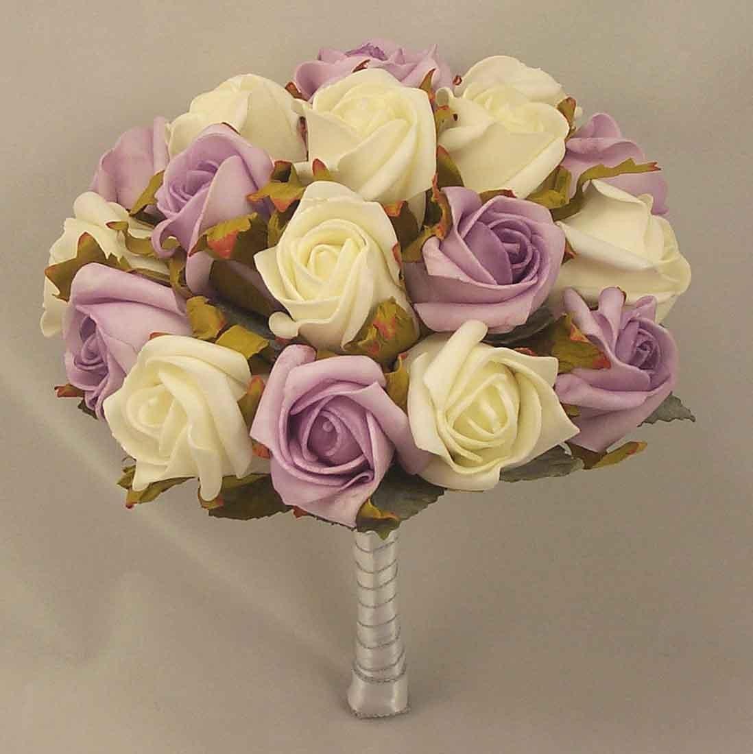 White & Lilac Rose Medium Table Posy