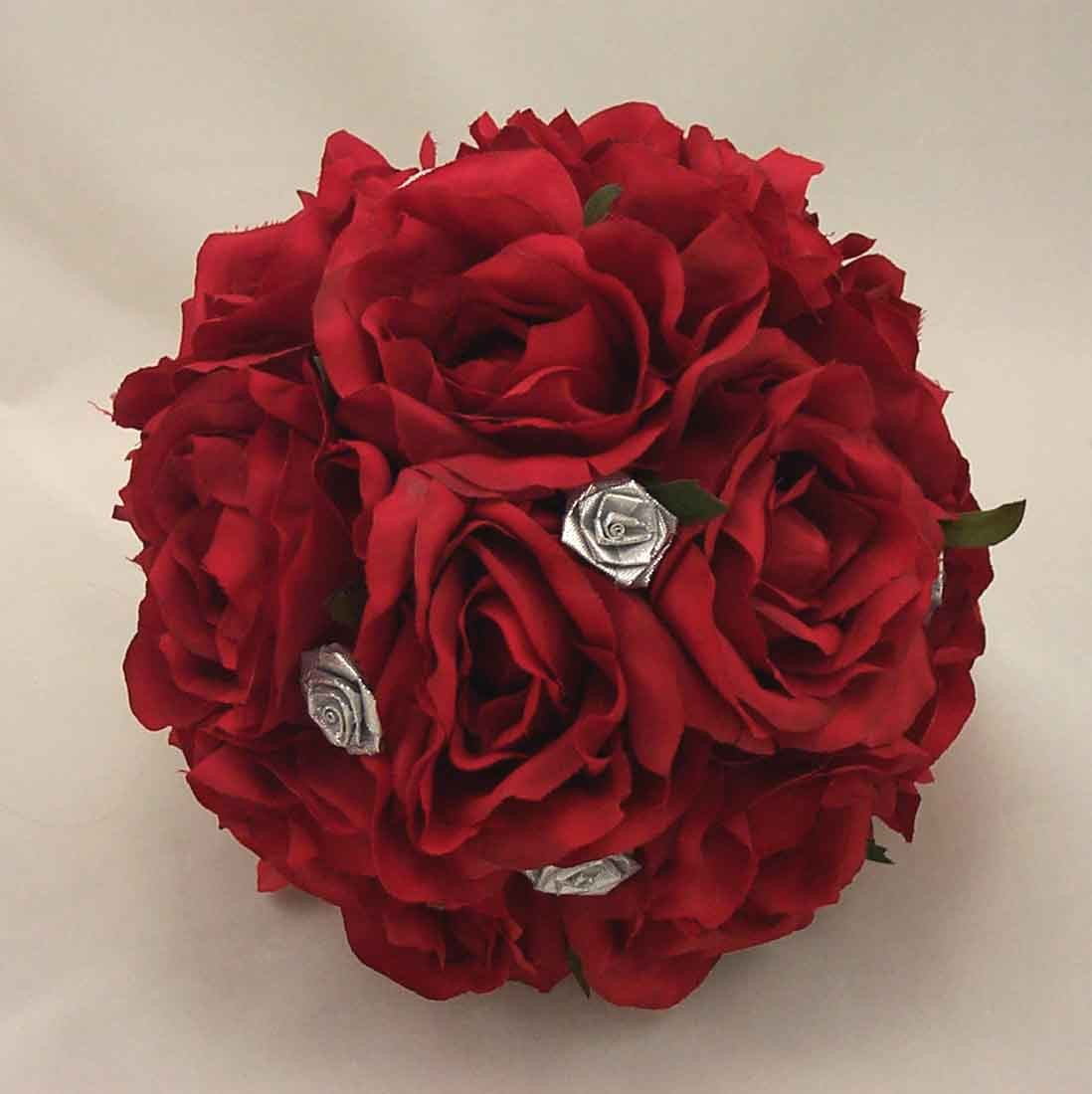 Red Rose & Silver Table Posy