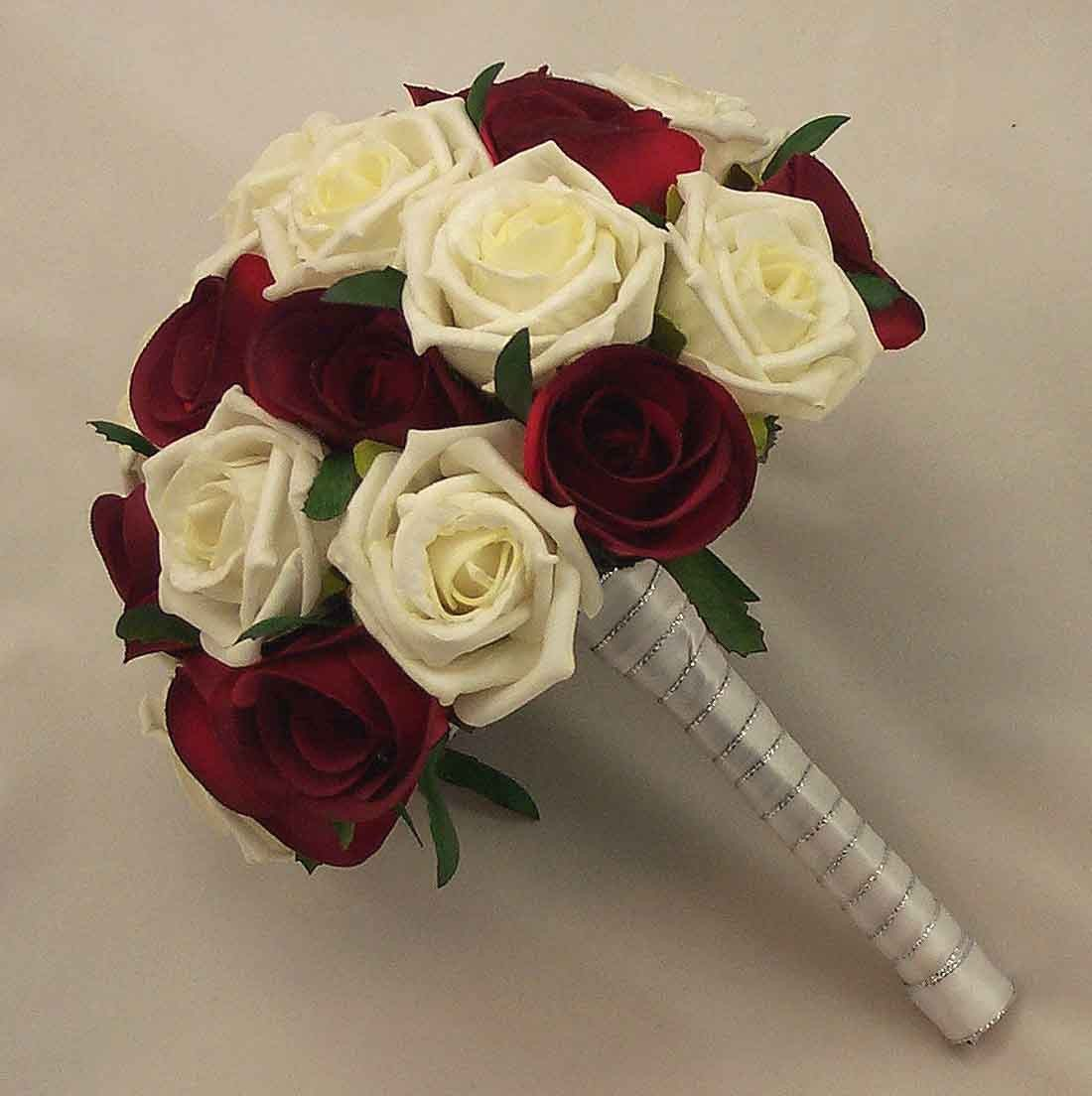 Bridal Bouquets Burgundy & Ivory Rose Bridal Bouquet Silk Wedding Flo