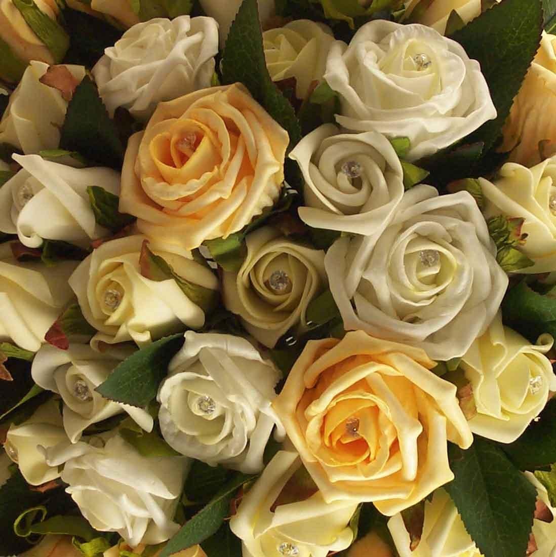 Ivory & Gold Diamante Rose Table Arrangement