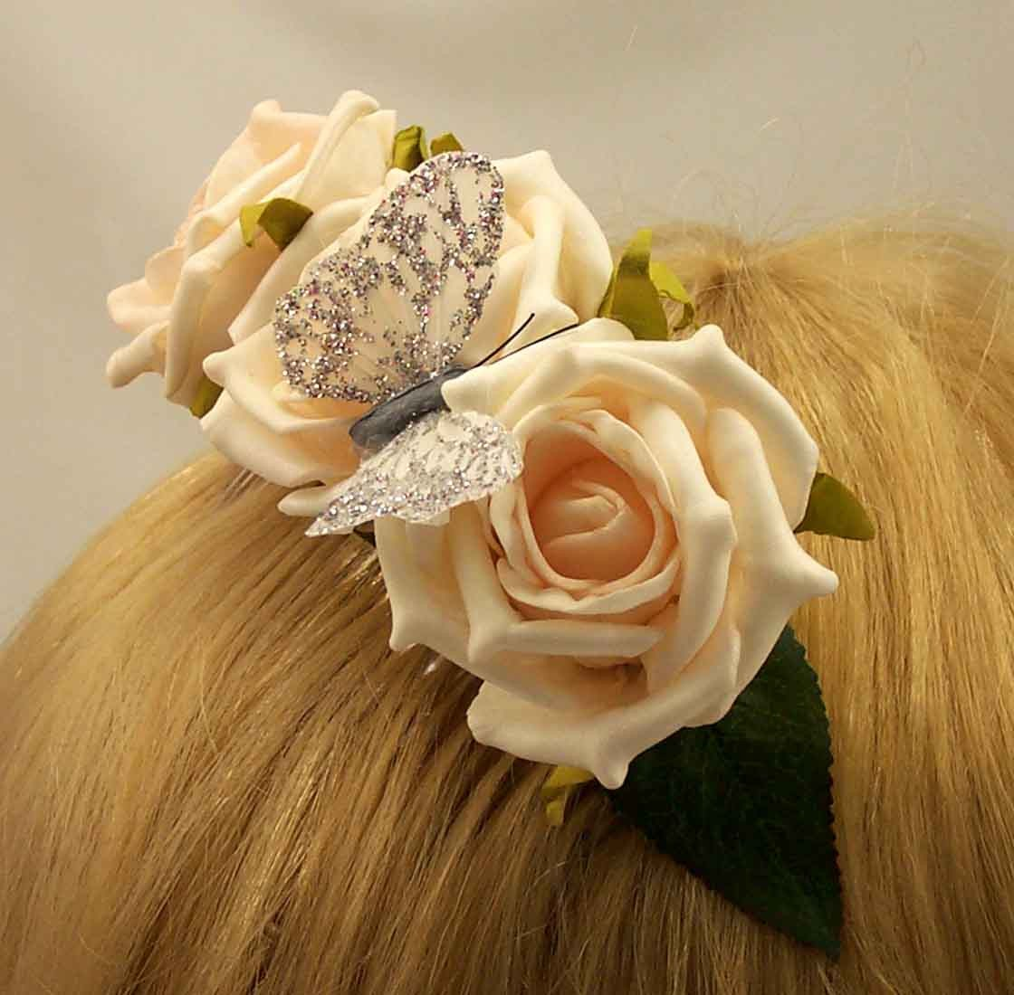 Cream Open Rose Hair Comb