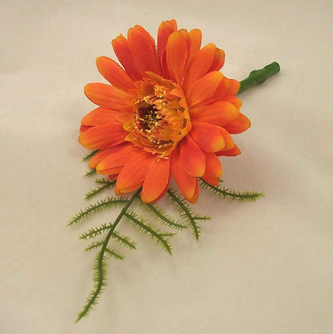 Orange Gerbera Fern Buttonhole