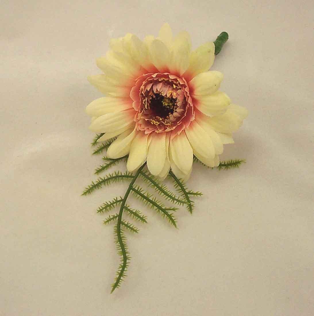 Cream Gerbera Fern Buttonhole