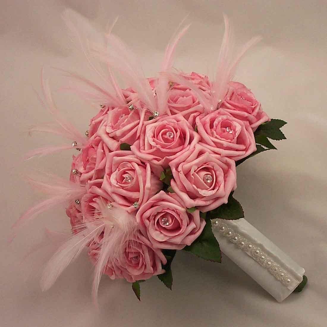 Bridal Bouquets - Pink Rose Feather Bridal Bouquet - Silk Wedding ...