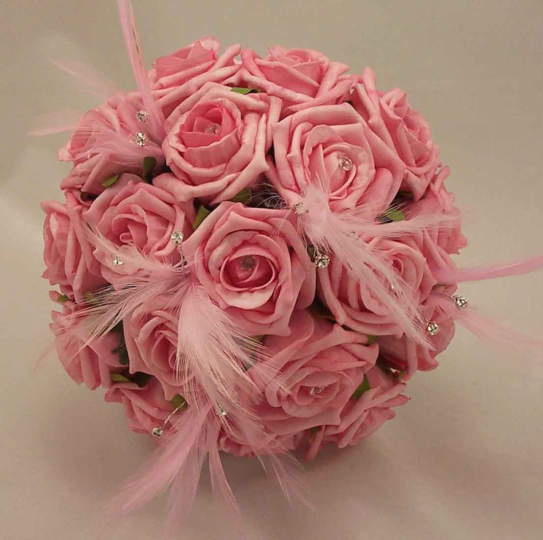 Pink Rose Feather Bridesmaid's Bouquet