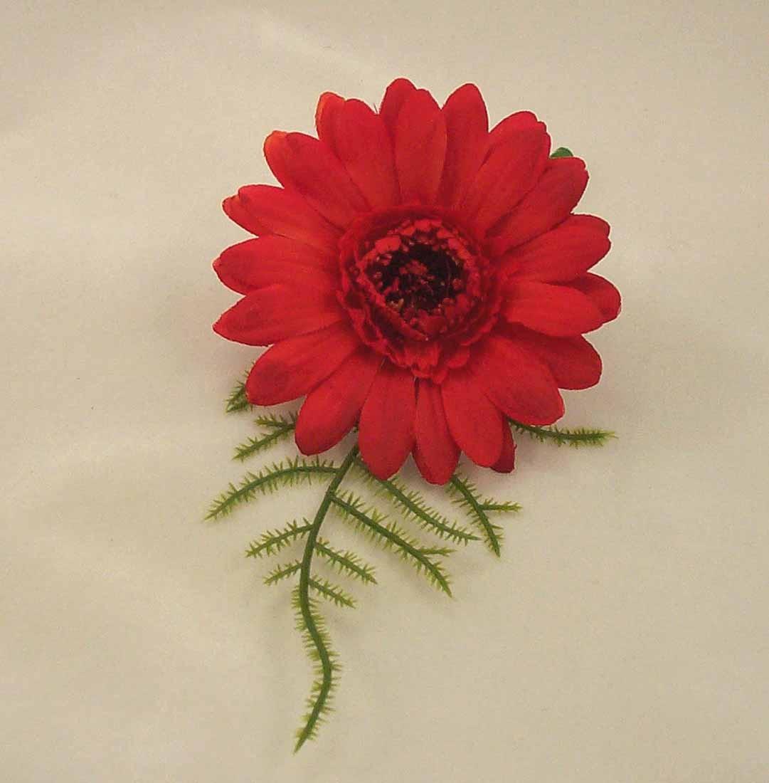Red Gerbera Fern Buttonhole