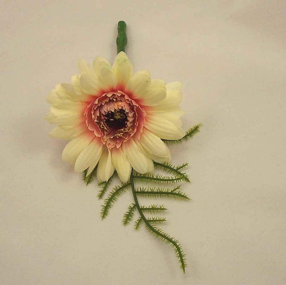 Ivory Gerbera Fern Buttonhole