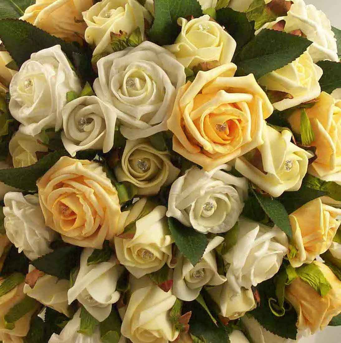 Gold & Ivory Rose Diamante Shower Bouquet