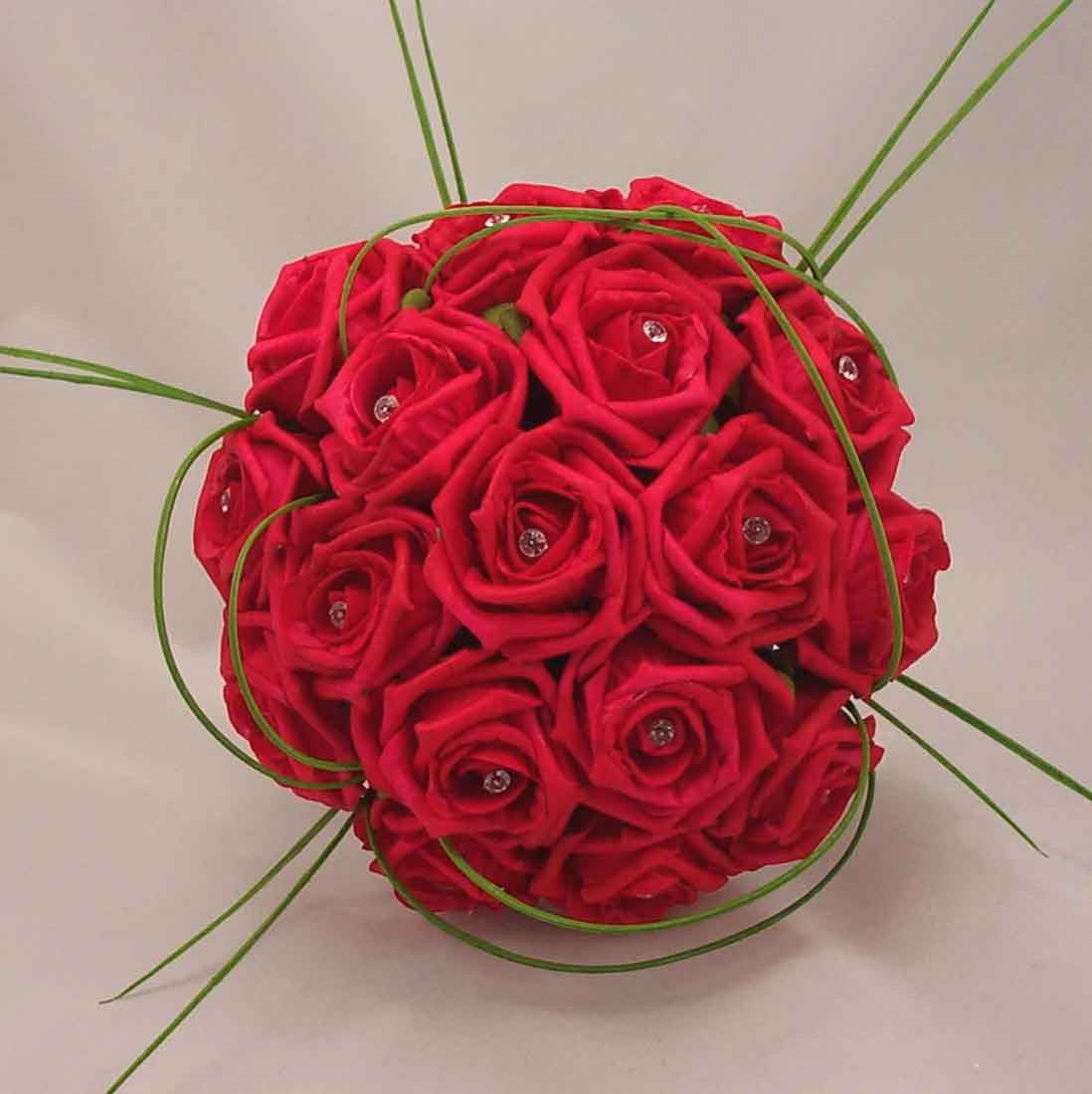 Bridal bouquets red rose diamante bouquet silk
