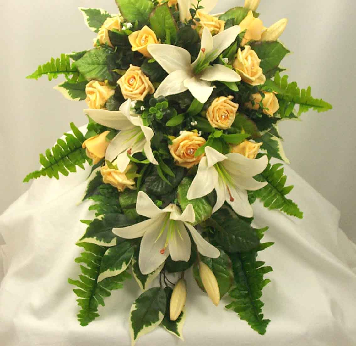 Gold Rose & Tiger Lily Shower Bouquet