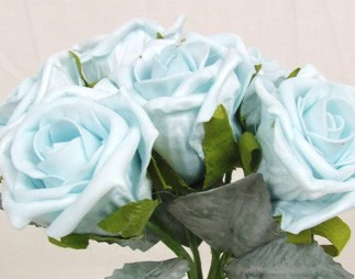 6 Luxury Aqua Turquoise Medium Roses