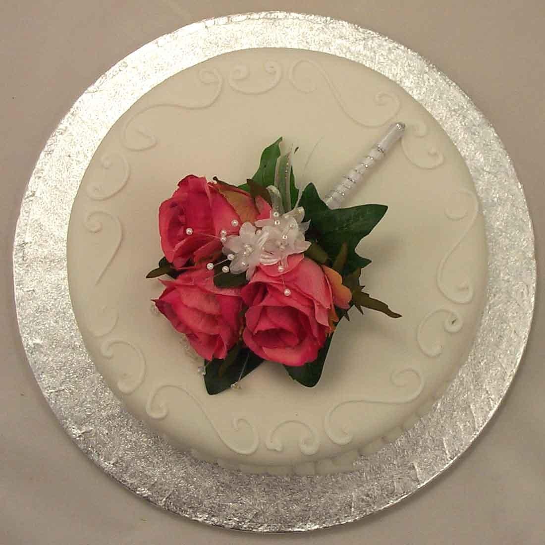 Pink Rose Corsage Cake Topper