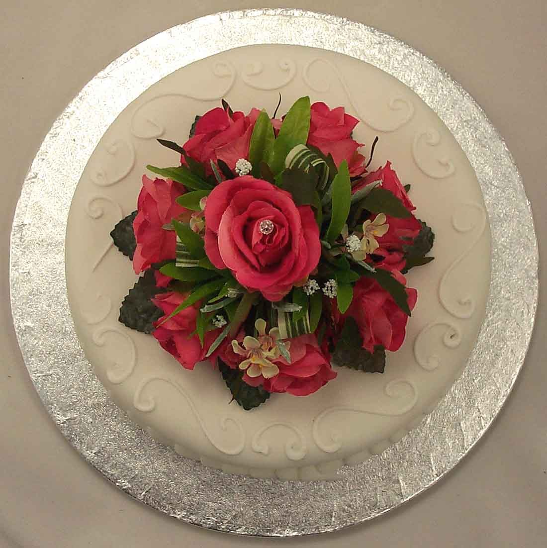 Cerise Pink Rose Luxury Diamante Cake Topper