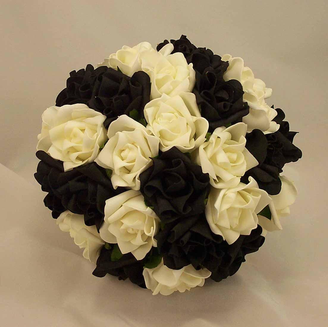 Black & White Rose Posy Bridal Bouquet